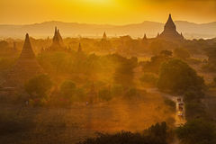 Sunset over temples of Bagan Royalty Free Stock Photo