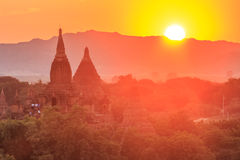 Sunset over the Temples of Bagan, Myanmar Royalty Free Stock Photos