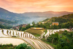 Sunset over terraced rice field in Longji, Guilin in China Stock Photography