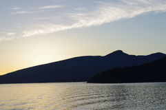 Sunset over Tetrahedron Provincial Park. Sailing through the Howe Sound of the Pacific Ocean near Vancouver, BC, Canada Stock Photography
