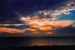 Sunset over the Texas Bay. This is a sunset over the Texas bay. The salt water make beautiful sunsets and sunrises when the clouds and skies are just right Royalty Free Stock Image