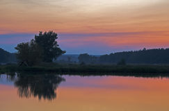 Free Sunset Over The Lake And A Tree Stock Photos - 54406803