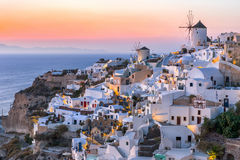 Sunset over the town of Oia, Santorini Royalty Free Stock Photos