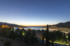 Sunset over the town of Vathi, Samos Royalty Free Stock Photo
