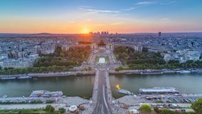 Sunset over Trocadero timelapse with the Palais de Chaillot seen from the Eiffel Tower in Paris, France. stock footage