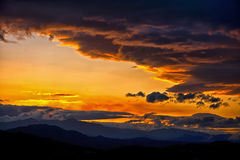 Sunset over the Troodos Mountains Cyprus Stock Images