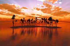 Sunset over tropic atoll Stock Photography