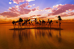Sunset over tropic atoll Royalty Free Stock Images