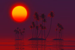Sunset over tropic islands Royalty Free Stock Images