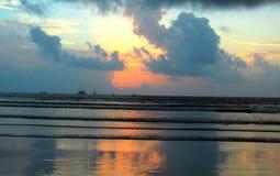 Sunset over tropical beach stock photo
