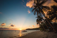 Sunset over the tropical beach Royalty Free Stock Photos