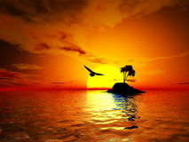 Sunset over tropical island Stock Image