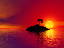 Sunset over tropical island. Scenic view of red sunset over small silhouetted tropical island with palm tree stock illustration