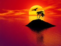 Sunset over tropical island Royalty Free Stock Photos