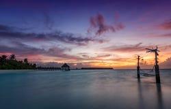 Sunset over a tropical Maldivian Island Stock Image