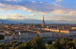 Sunset over the Turin city center with Mole Antonelliana, Turin,Italy,Europe Stock Images