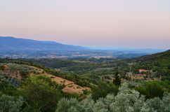 Sunset over Tuscan countryside - Italy. Romantic sunset over the hills surrounding Florence and Arezzo Stock Photography