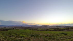 Sunset over the Tuscany Fields. Time Lapse stock video