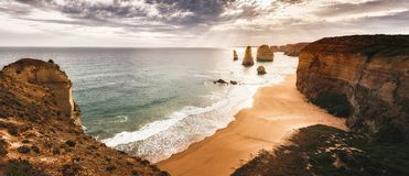 The sunset over the Twelve Apostles, Victoria,Australia stock photos