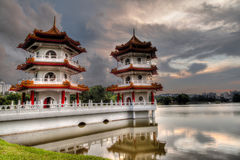 Sunset Over Twin Pagodas at Singapore Chinese Gardens Royalty Free Stock Photos