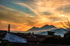 Sunset over two volcanos, Guatemala Royalty Free Stock Image