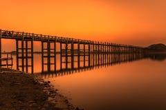 Sunset over the U Bein Bridge in Myanmar Stock Image