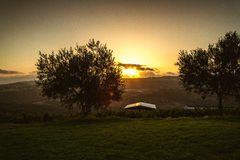 Sunset over the Upper Galilee, Israel Royalty Free Stock Image