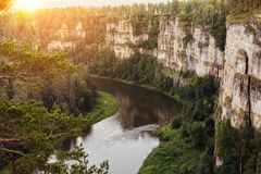 Sunset over the Ural Mountains. Canyon of the Ai River stock images