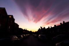 Sunset over an Urban Street Royalty Free Stock Photos
