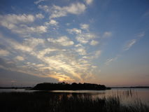 Sunset over Ushiku Lake in early winter. Countryside of tokyo, japan Stock Photography