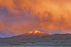 Sunset over the Uturuncu Vulcano Stock Image