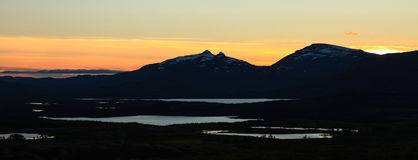 Sunset over the Vadvetjakka National Park in Lapland Stock Image