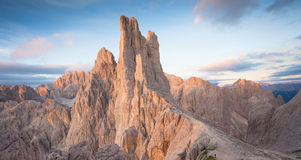 Sunset over the Vajolet towers in Dolomites. Sunset over the Vajolet  towers in Dolomites Stock Photos