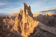 Sunset over the Vajolet towers in Dolomites. Sunset over the Vajolet  towers in Dolomites Royalty Free Stock Photos