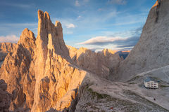 Sunset over the Vajolet towers in Dolomites. Sunset  over the Vajolet towers in Dolomites Royalty Free Stock Photography