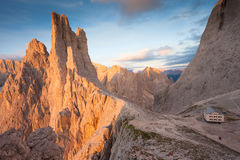 Sunset over the Vajolet towers in Dolomites Royalty Free Stock Photography