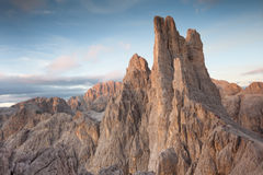 Sunset  over the Vajolet towers in Dolomites Royalty Free Stock Photos