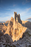 Sunset over the Vajolet towers in Dolomites. Sunset over  the Vajolet towers in Dolomites Royalty Free Stock Images