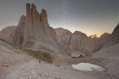 Sunset over the Vajolet towers in Dolomites. Sunset over  the Vajolet towers in Dolomites Royalty Free Stock Image