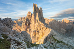 Sunset over the Vajolet towers in Dolomites. Sunset over the  Vajolet towers in Dolomites Stock Photo