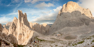 Sunset over the Vajolet towers in Dolomites Stock Photo