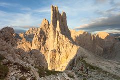 Sunset over the Vajolet towers in Dolomites Stock Photos