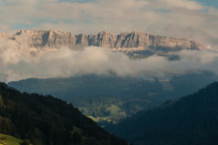 Sunset over Val Gardena in Dolomites Royalty Free Stock Photo