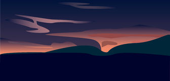 A sunset over valley, vector art Royalty Free Stock Photos