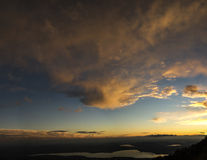 Sunset over the Varese lake, Italy Royalty Free Stock Image