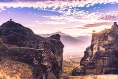 Sunset over Varlaam monastery in Meteora, Greece Royalty Free Stock Images