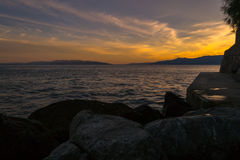 Sunset over Vela Vrata. Beautiful light over Sea and Vela Vrata nearby  Rijeka, Croatia, photographed at Springs late afternoon with Nikon D3100 Royalty Free Stock Photos