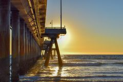 Sunset over Venice Beach Pier in Los Angeles, California royalty free stock photos