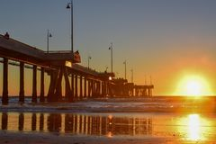 Sunset over Venice Beach Pier in Los Angeles, California royalty free stock images