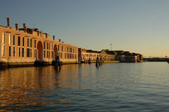 Sunset over Venice canal. Scenic view of sunset over buildings on Venice canal, Veneto, Italy stock photos
